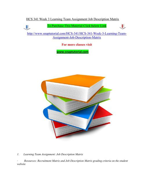 HCS 341 Week 3 Learning Team Assignment Job Description Matrix
