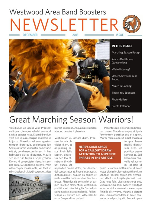 Westwood Area Band Boosters Newsletter