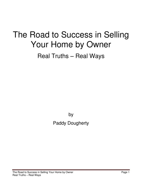 Copy of The Road to Success in Selling Your Home by Owner