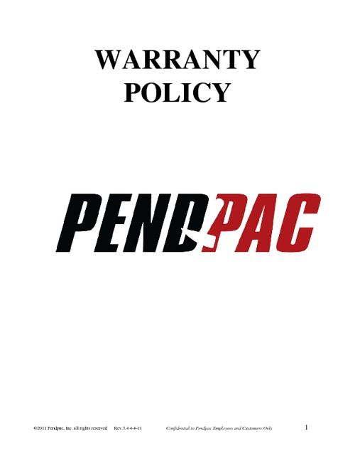 Pendpac Warranty Manual