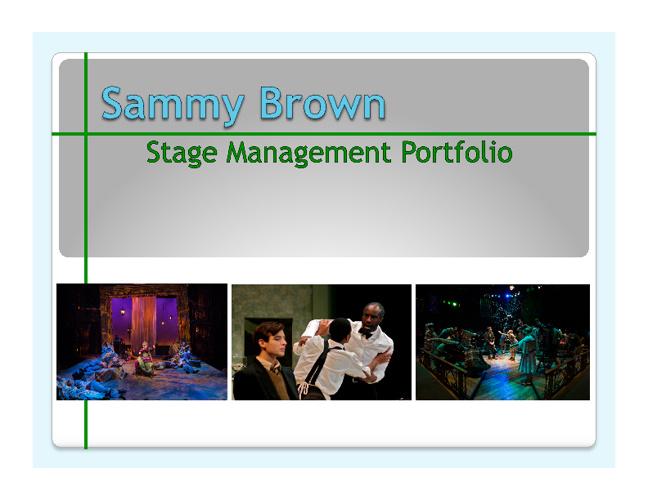 Stage Management Portfolio 2