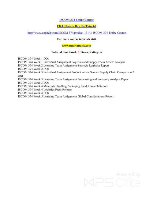 ISCOM 374 learning consultant - tutorialrank.com