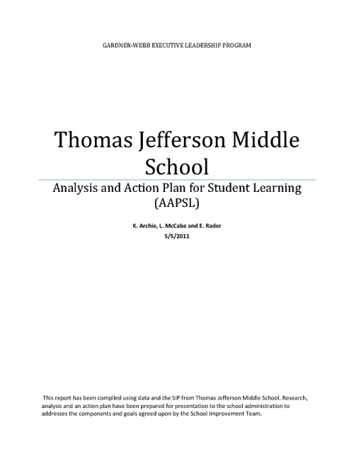 Analysis and Action Plan for Thomas Jefferson Middle School - Ka