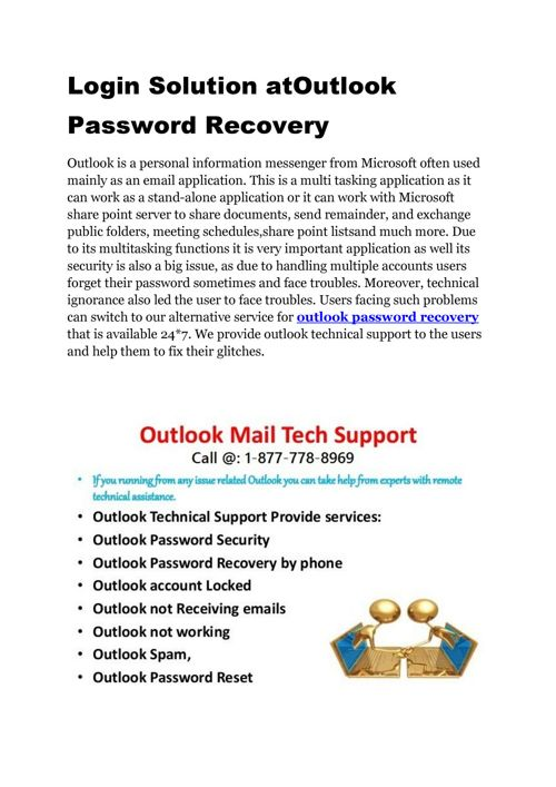 Get Outlook Password Recovery @ (1-877-778-8969) Phone Numbe