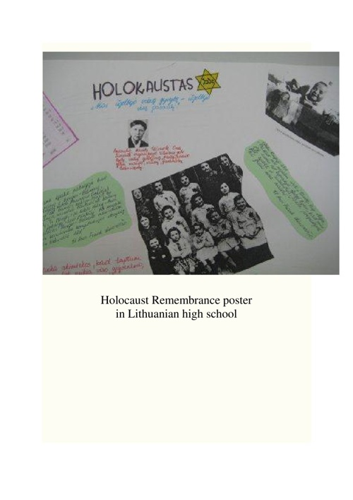 Remembering the Holocaust in Lithuania  By Ellen Cassedy