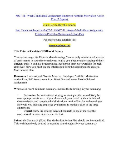 MGT 311 Week 3 Individual Assignment Employee Portfolio Motivati