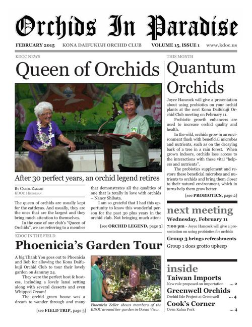 Orchids in Paradise, Volume 15, Issue 1
