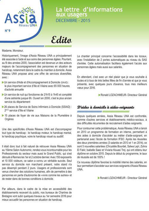 Lettre-usagers - n°9 - Decembre 2015