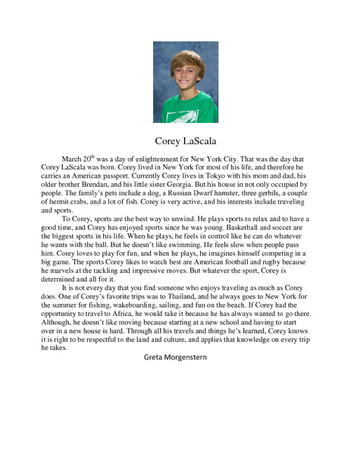 Corey Biography by Greta