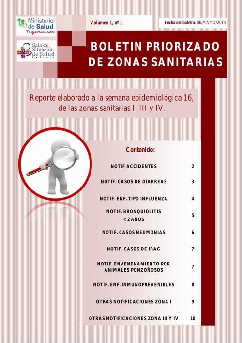 BOLETIN PRIORIZADO A LA SE 16 DE ZONAS SANITARIAS  AÑO 2014