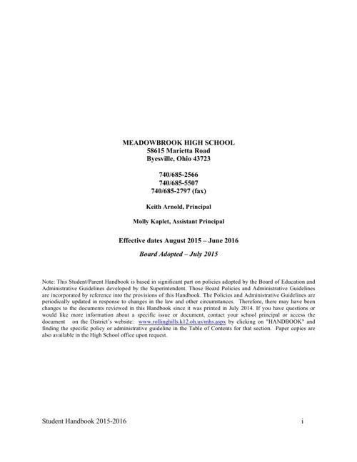 MHS Handbook 15-16