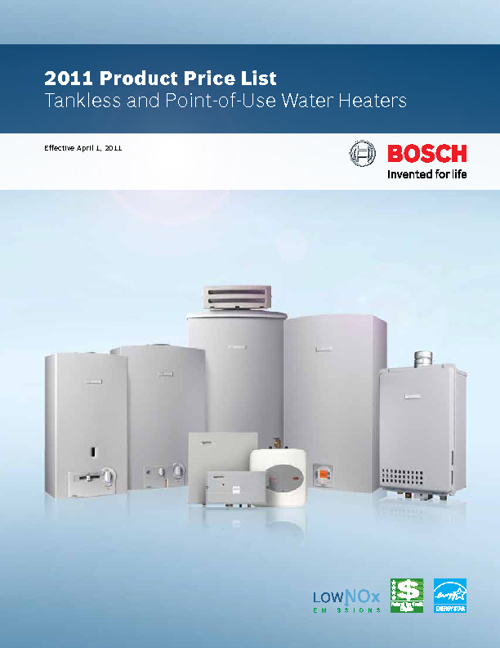 2011 Product Price List Tankless and Point-of-Use Water Heaters