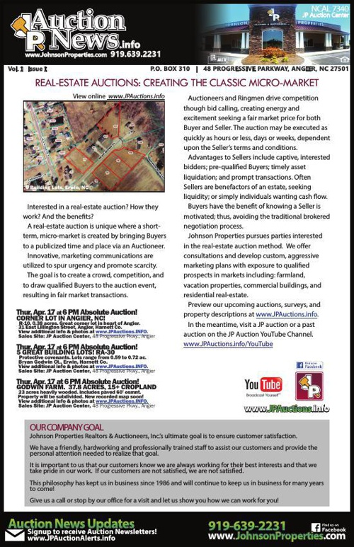 April JP Auction News, Vol. 1 Issue 1