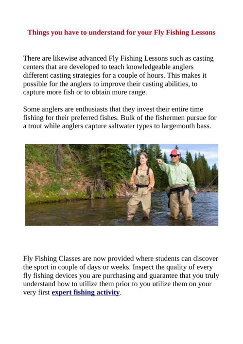 Things you have to understand for your Fly Fishing Lessons