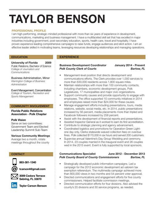 Taylor Benson Resume April 2015