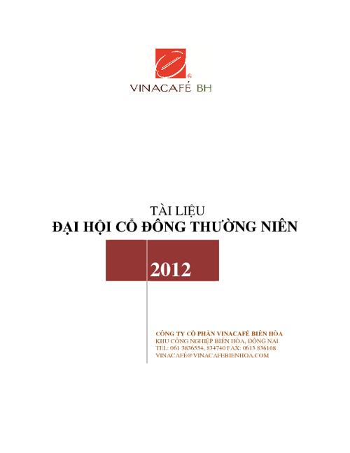 Tài liệu Đại hội Cổ đông thường niên 2012 - Vinacafé BH