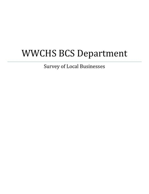 Business Needs Survey Discussion