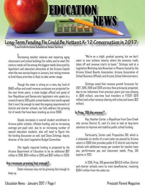 Education News: January 2017 - Prescott Parent Magazine