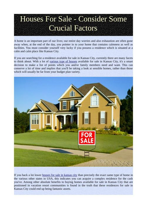 Houses For Sale - Consider Some Crucial Factors