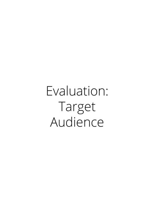 Evaluation: Target Audience