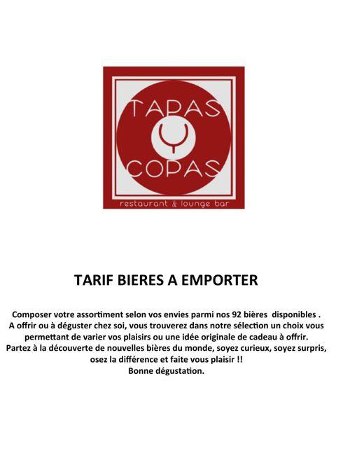 CARTE BIERES A EMPORTER - TAPAS Y COPAS