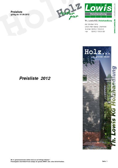 Preisliste Th. Lowis KG Holzhandlung