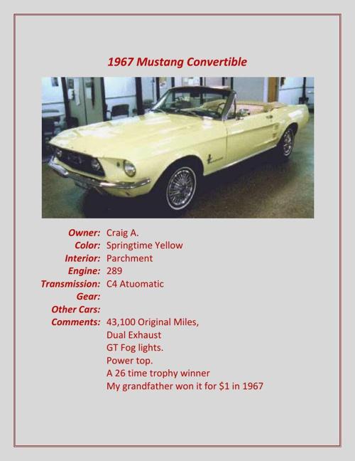 1967-1989 Members' Cars