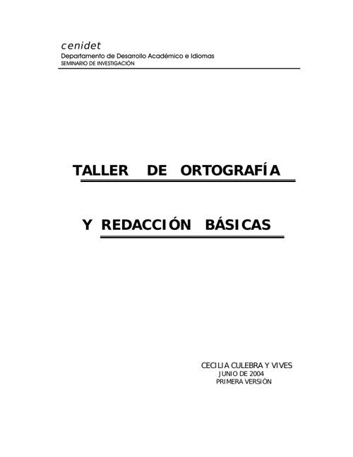 TALLER DE ORTOGRAFÍA Y REDACCIÓN