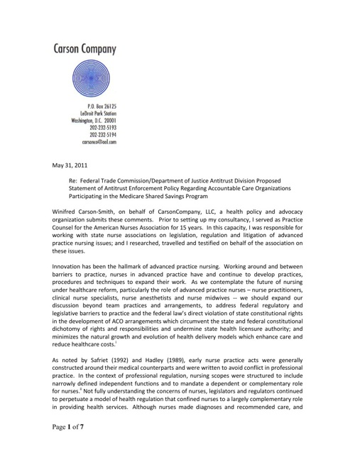FTC COMMENTS - MAY 31, 2011