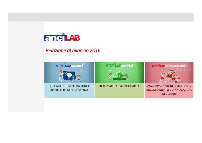 AnciLab: Relazione di Bilancio 2016