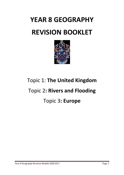 Year 8 Revision Booklet 2013