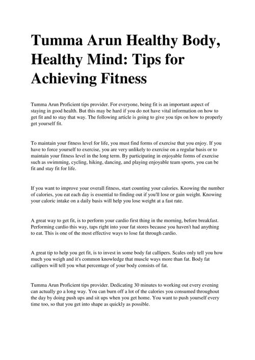 Tumma Arun Healthy Body, Healthy Mind Tips for Achieving Fitness
