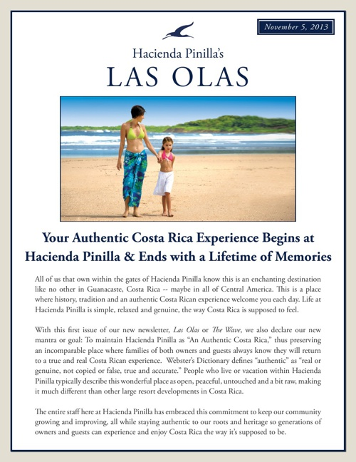 Hacienda Pinilla's Newsletter- Las Olas