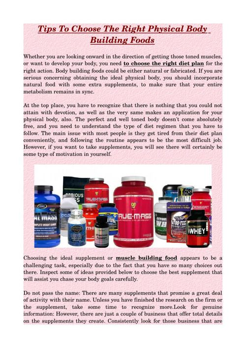 Tips To Choose The Right Physical Body Building Foods