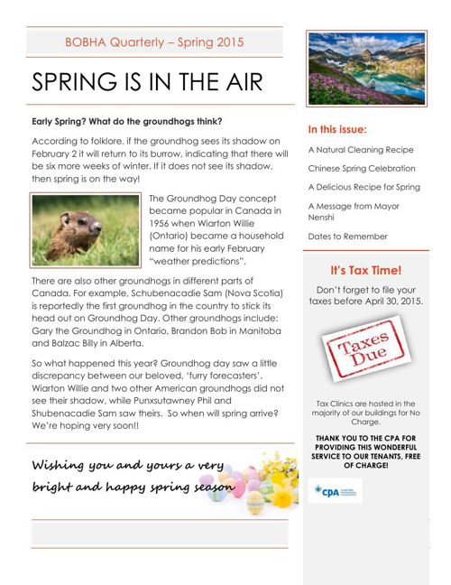 BOBHA Spring Newsletter 2015