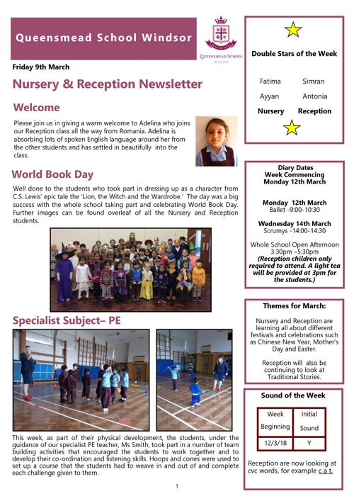 Nursery and Reception News 9th March 2018