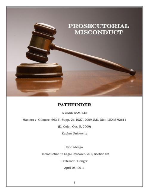 Pathfinder- Prosecutorial Misconduct