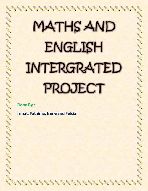 MATHS AND ENGLISH INTERGRATED PROJECT