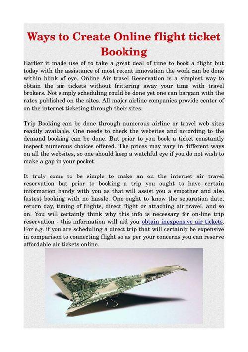 Ways to Create Online flight ticket Booking