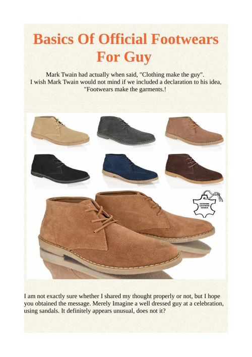 Basics Of Official Footwears For Guy