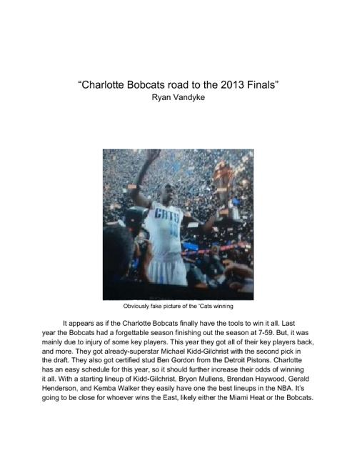 Charlotte Bobcats road to 2013 fina