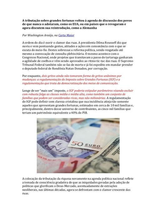 A tributação sobre grandes fortunas