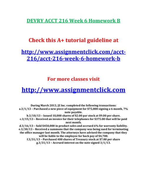 DEVRY ACCT 216 Week 6 Homework B