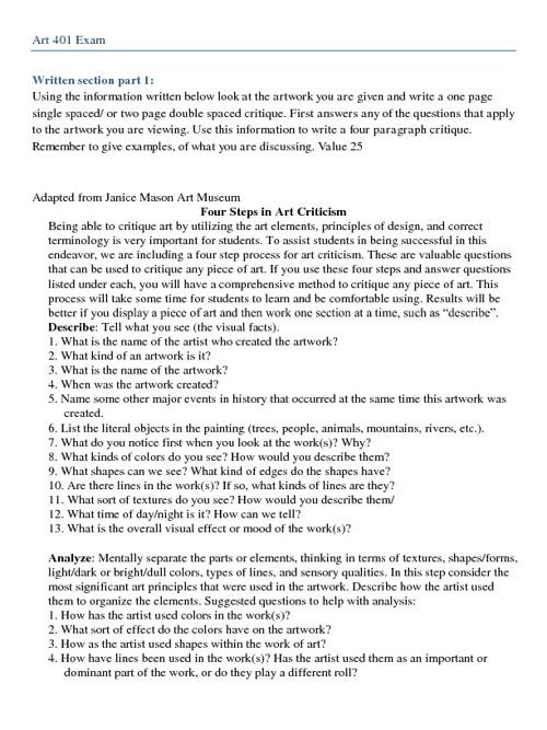 Art 401 Exam