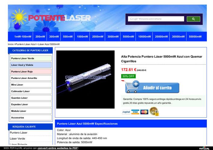 Laser 450nm 5000mW Barato