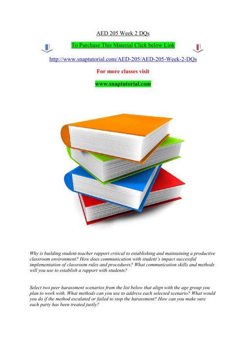 AED 205 Week 2 DQs