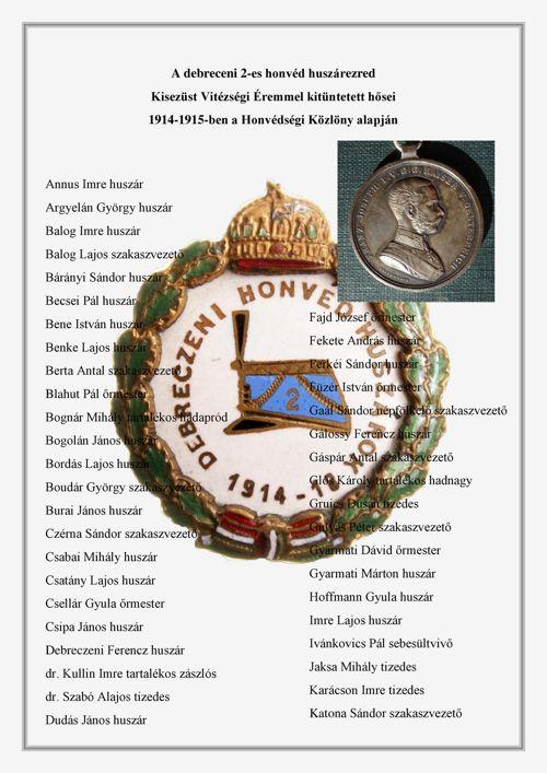 A 2-es honvéd huszárezred Kisezüst Vtézségi Éremmel kitüntettjei