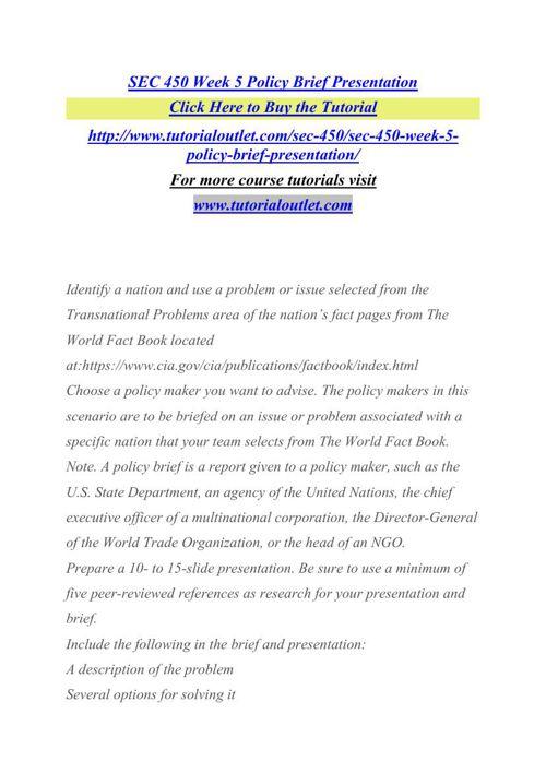 SEC 450 Week 5 Policy Brief Presentation