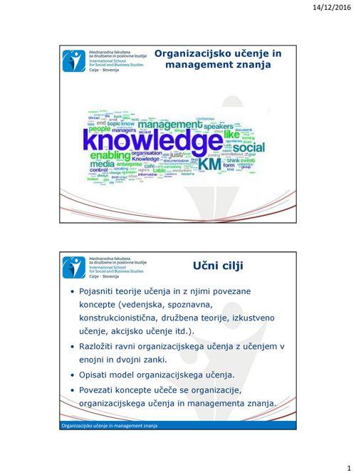 Predavanje SMZ_5_Organizacijsko učenje