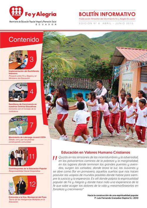 Boletín Nº 8 Fe y Alegria Ecuador abril - junio 2015